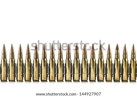 Cartridge 7.62 mm caliber, machine gun bullet isolated. - stock photo
