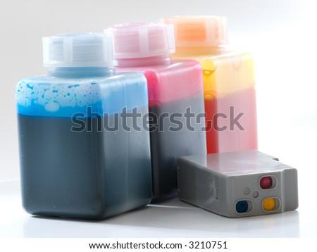 cartridge refuelling with the syringe - stock photo