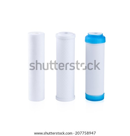 cartridges for water filter isolated on white - stock photo