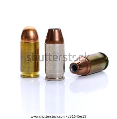 cartridges of .380 ACP pistols ammo. - stock photo