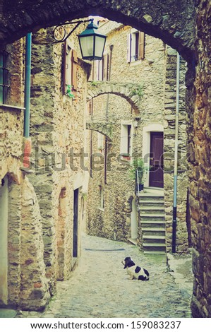 Caruggio of Genoa narrow streets in the old town vintage looking - stock photo
