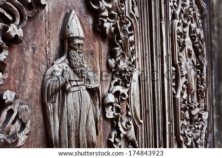carved doors closeup detail  of san agustin church, intramuros, manila philippines. national historical landmark. designated as world heritage site by unesco.  - stock photo