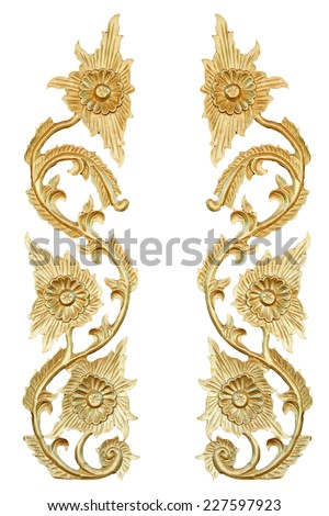 Carved floral patterns in isolate on white. - stock photo