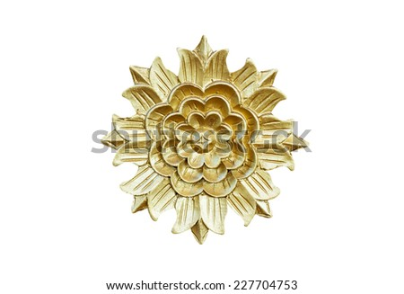 Carved flowers in isolate on white. - stock photo