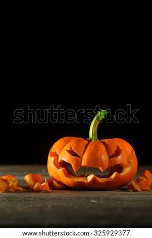 Carved Halloween jack o' lantern - stock photo
