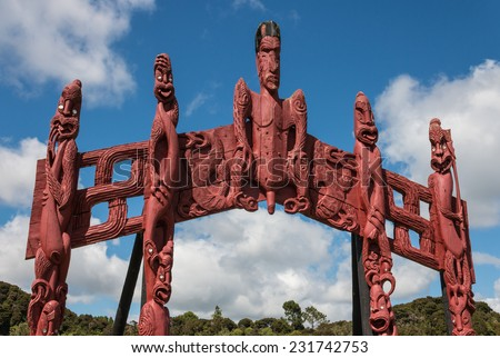 carved Maori totem in Paihia, New Zealand - stock photo