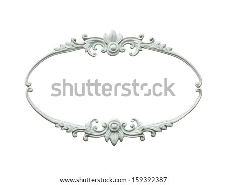 carved oval wood frame isolated on white - stock photo