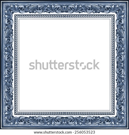 Carved picture frame isolated on white background - stock photo