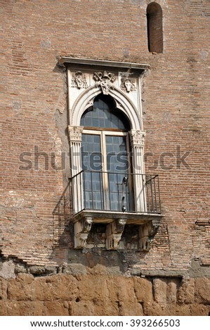 Carved stone window in the Imperial forum of Emperor Augustus in Rome, Italy - stock photo