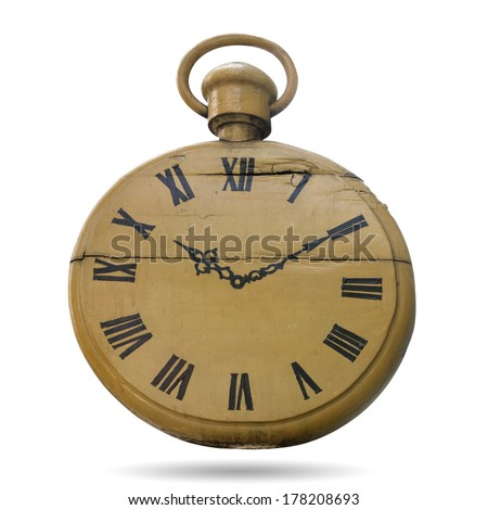 Carved wood painted black as a clock isolated on white with clipping pats. - stock photo