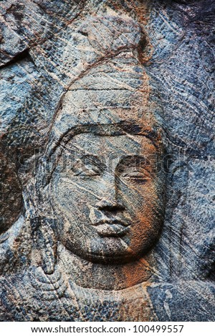 Carving in buddhist temple Buduruvagala, Sri Lanka - stock photo