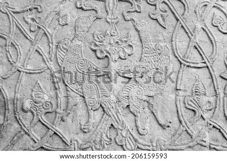 Carving on the white stone. St George's Cathedral, Yuriev-Polsky, Russia - stock photo
