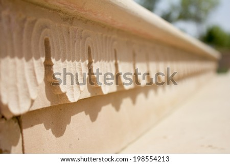 carving pattern in jain temple, ajmer, rajasthan - stock photo