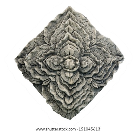 Carving stone of flower isolated on white background - stock photo