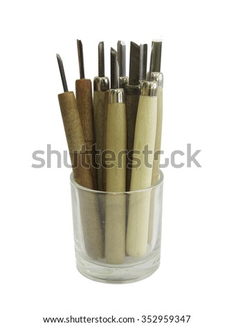 Carving tools in isolated shot - stock photo