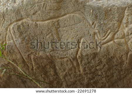 Carvings dating back 10 000 BC in Gobustan,Azerbaijan - stock photo