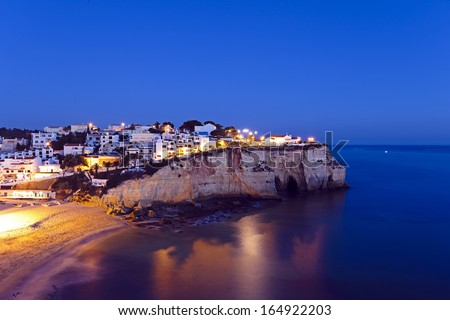 Carvoeiro in the Algarve Portugal at night - stock photo