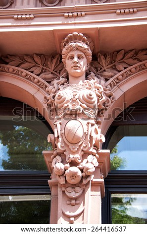 Caryatid ancient woman statue, erechteion temple - stock photo