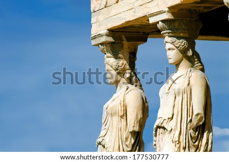 Caryatides, Parthenon on the Acropolis in Athens, Greece - stock photo