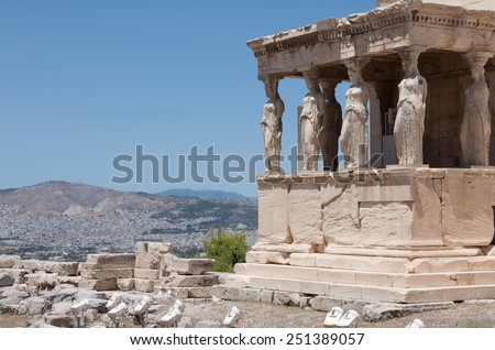 Caryatids Erechteion Acropolis Athens Greece - stock photo