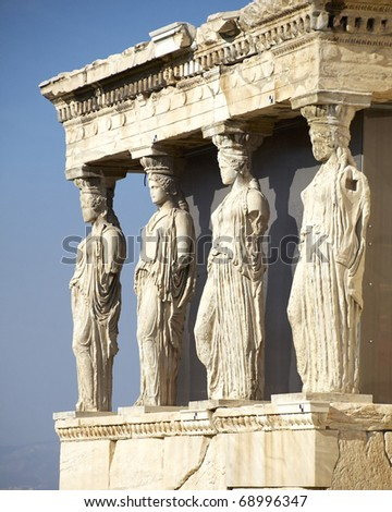 Caryatids, erechteion temple  Acropolis, Athens Greece - stock photo
