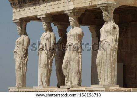 Caryatids of Acropolis  - stock photo