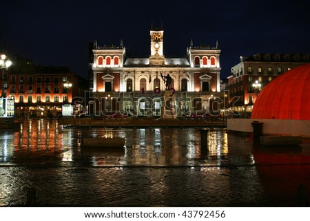 Casa Consistorial - beautiful town hall in Valladolid, Spain. Night view in rainy weather. - stock photo
