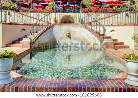 Casa del Rey Moro Garden in Balboa Park, San Diego. Fountain details. - stock photo