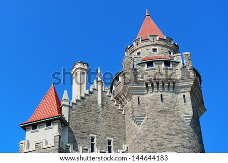 Casa Loma in Toronto with blue sky - stock photo