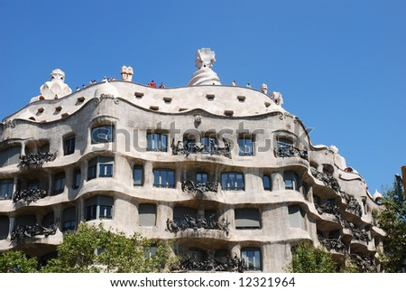 Casa Mila or La Pedrera exterior with lots of curves, Barcelona, Spain - stock photo