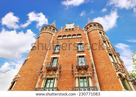 Casa Serra (Building with spires) in centre of  Barcelona, Catalunia, Spain. - stock photo