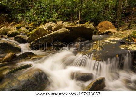 Cascade in the Blue Ridge Mountains in North Carolina - stock photo