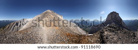 Cascade Mountain, Near Summit, near Banff, Banff National Park, Alberta, Canada. - stock photo