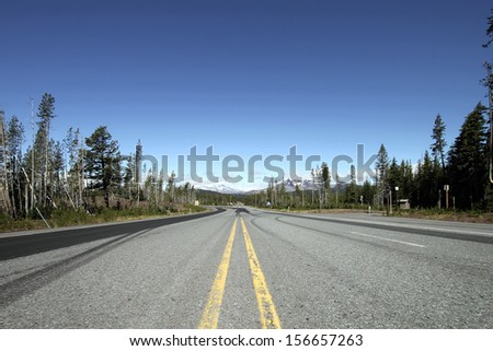 Cascade Range Scenic Byway Highway in Deschutes County Central Oregon - stock photo