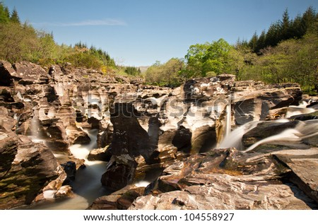 Cascades at Loch Orchy - long Exposure Version, Trossachs, Scotland, Europe - stock photo