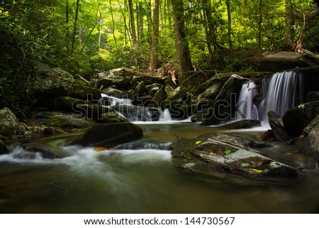 Cascades below catabwa falls at Old Fort North Carolina - stock photo