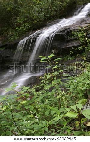 Cascades Falls, Ashe County, North Carolina Vertical in Summer - stock photo
