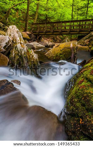 Cascades on Kitchen Creek and a walking bridge along the Falls Trail in Glen Leigh, Ricketts Glen State Park, Pennsylvania. - stock photo