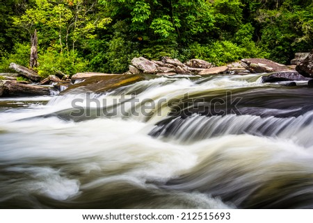 Cascades on Little River, in Dupont State Forest, North Carolina. - stock photo
