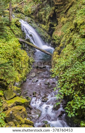 Cascades on the Sol Duc River, on the High Divide/Seven Lakes Trail, in Olympic National Park, near Port Angeles, Washington. - stock photo