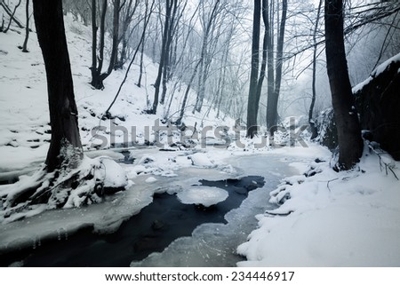Cascading creek in the winter (Black and White)  - stock photo