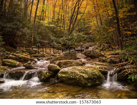 Cascading stream in the Blue Ridge Mountains near the parkway in North Carolina - stock photo