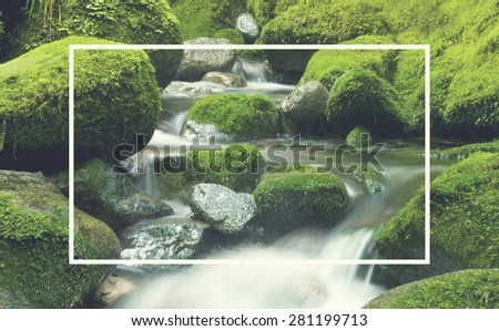 Cascading Waterfall Cascading Atmosphere Greenery Concept - stock photo
