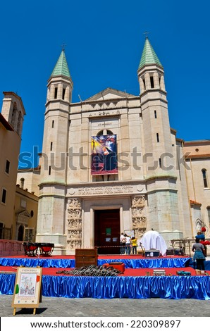 CASCIA - MAY 14: The Basilica of Saint Rita of Cascia in Italy during the preparations for Concert Band of the Carabinieri Corps, May 14, 2011 in Cascia, Italy. - stock photo
