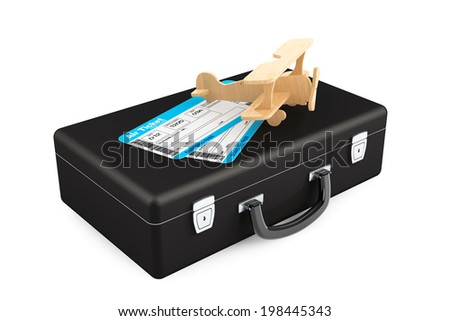 Case, Aeroplane and Airline boarding pass ticket on a white background - stock photo