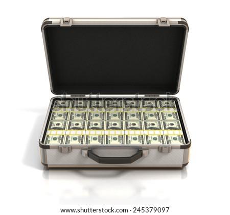 case full of dollars - stock photo