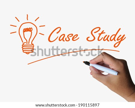 Case Study and Lightbulb Indicating Concepts Ideas and Research - stock photo