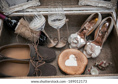 Case with wedding accessorize - stock photo