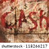 Cash bloody abstract vintage background - stock photo