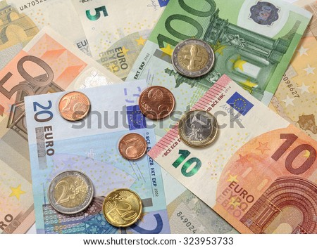 Cash Currency Euro, shallow DOF - stock photo